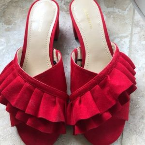 Red faux suede sandals